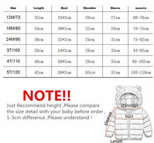 Load image into Gallery viewer, Cute 1- 5y baby girls jacket kids boys Light down coats with ear hoodie spring girl clothes infant children's clothing for boys