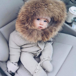 Winter Warm Rompers  Snowsuit Outfits With Fur Collar (No Real Fur)