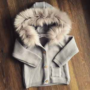 Baby Sweater With Fur Collar(No Real Fur)