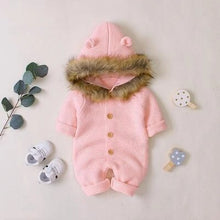 Load image into Gallery viewer, Unisex Baby Bear Rompers With Fur Collar (No Real Fur) Special Offer