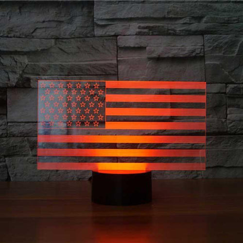 US Flag Stripes 3D Illusion Lamp