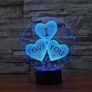 I Love You Hearts 3D Illusion Lamp