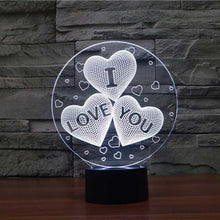 Load image into Gallery viewer, I Love You Hearts 3D Illusion Lamp