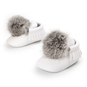 0-18M Toddler Baby Boy Girl Pompom ball First Walkers Shoes(No Real Fur)