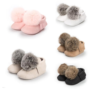 Toddler Baby Boy Girl Pompom ball First Walkers Shoes(No Real Fur) Special Offer
