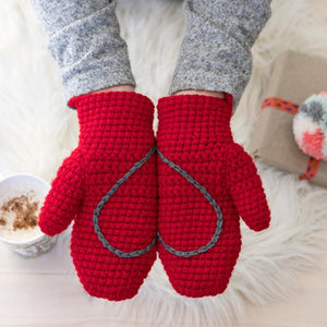 Adult Sized Chunky Mittens With Hidden Heart In Palms And String Through Sleeves, Crocheted.
