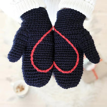 Load image into Gallery viewer, Adult Sized Chunky Mittens With Hidden Heart In Palms And String Through Sleeves, Crocheted.