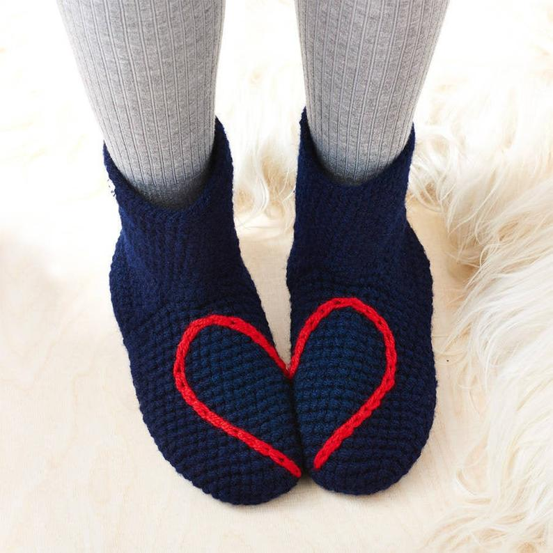 Handmade Love Heart Slipper Socks