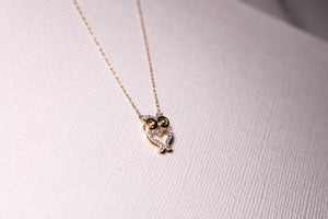 Owl Natural Diamond Necklace