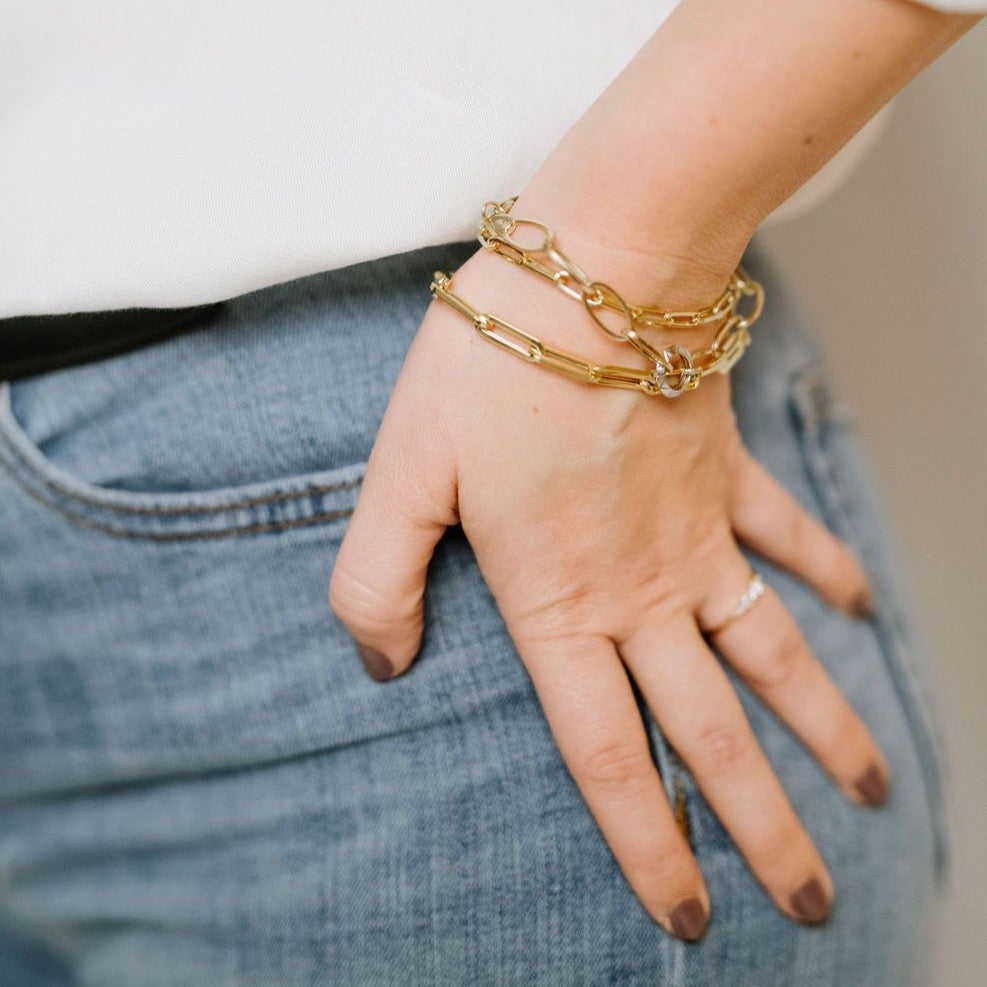 paper clip bracelets in yellow gold