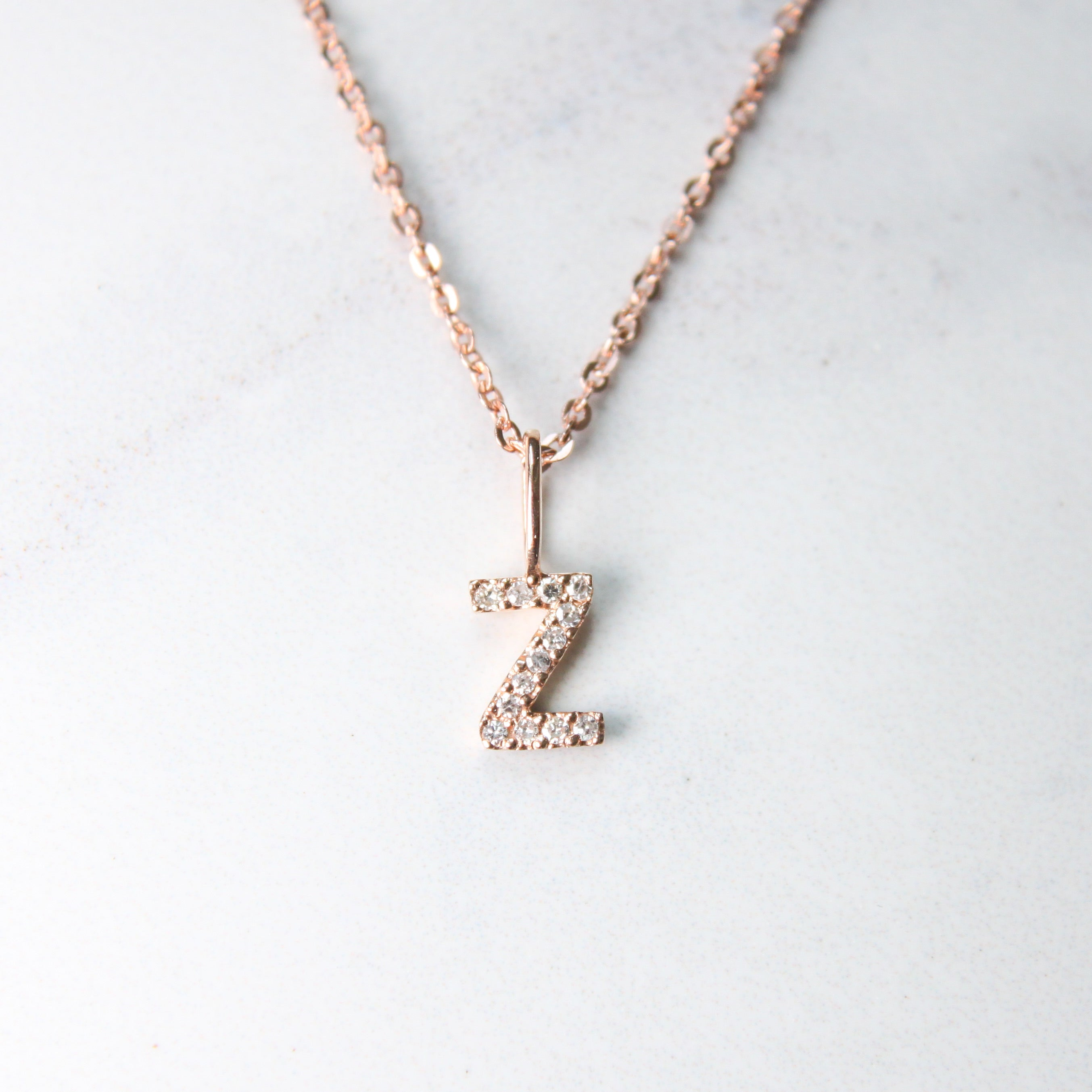 Rose Natural Diamond Initial Necklace