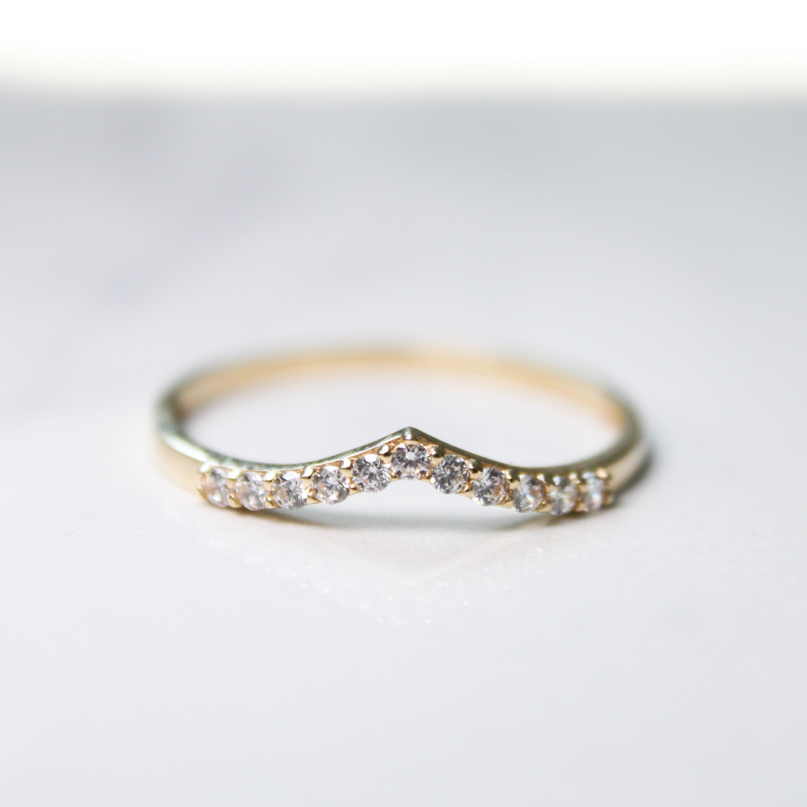 Cubic Zirconia Chevron Gold Ring