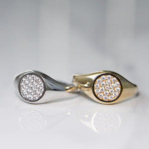 Cubic Zirconia Gold Signet Ring