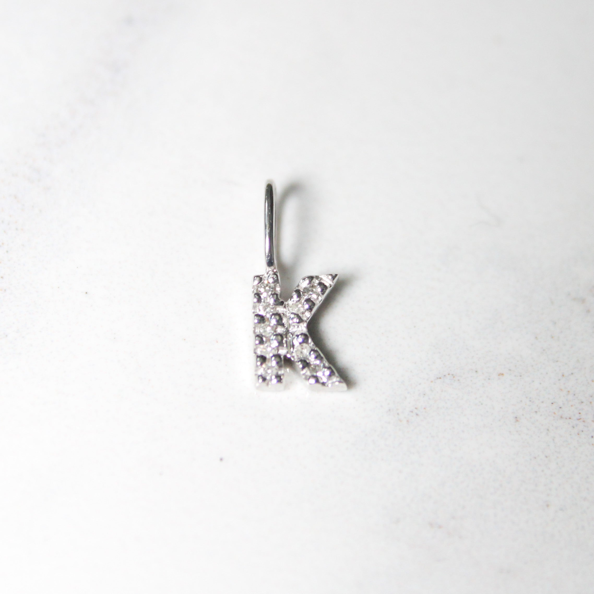 White Natural Diamond Initial Pendant