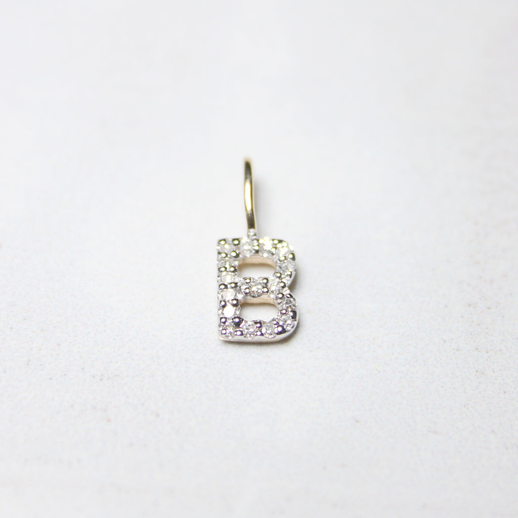 Yellow Natural Diamond Initial Pendant