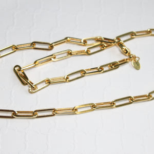 Yellow Gold Paper Clip Chain - Bold