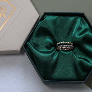 Cubic Zirconia Bead Gold Ring