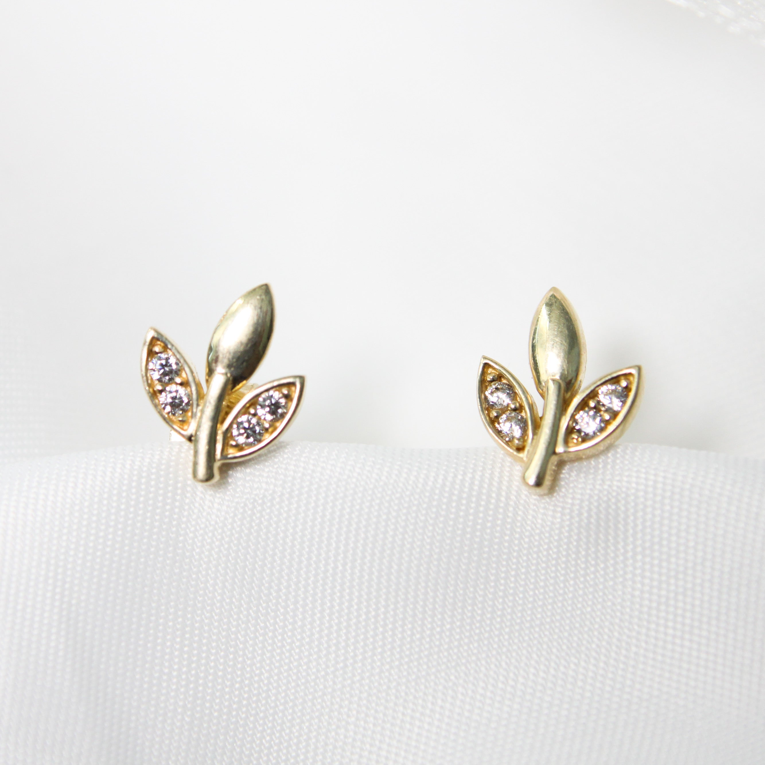Cubic Zirconia Leaf Earrings