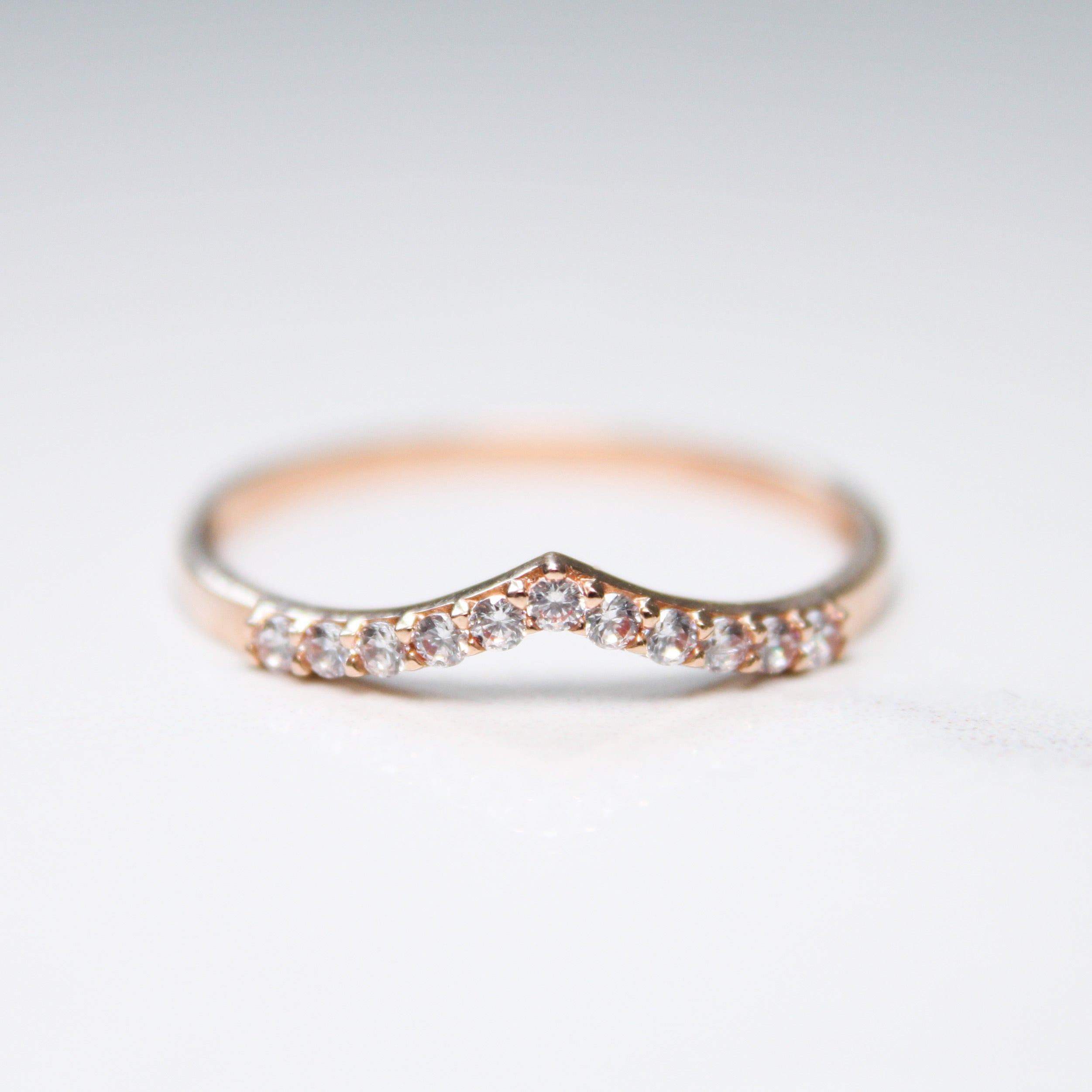 chevron gold ring with cubic zirconia
