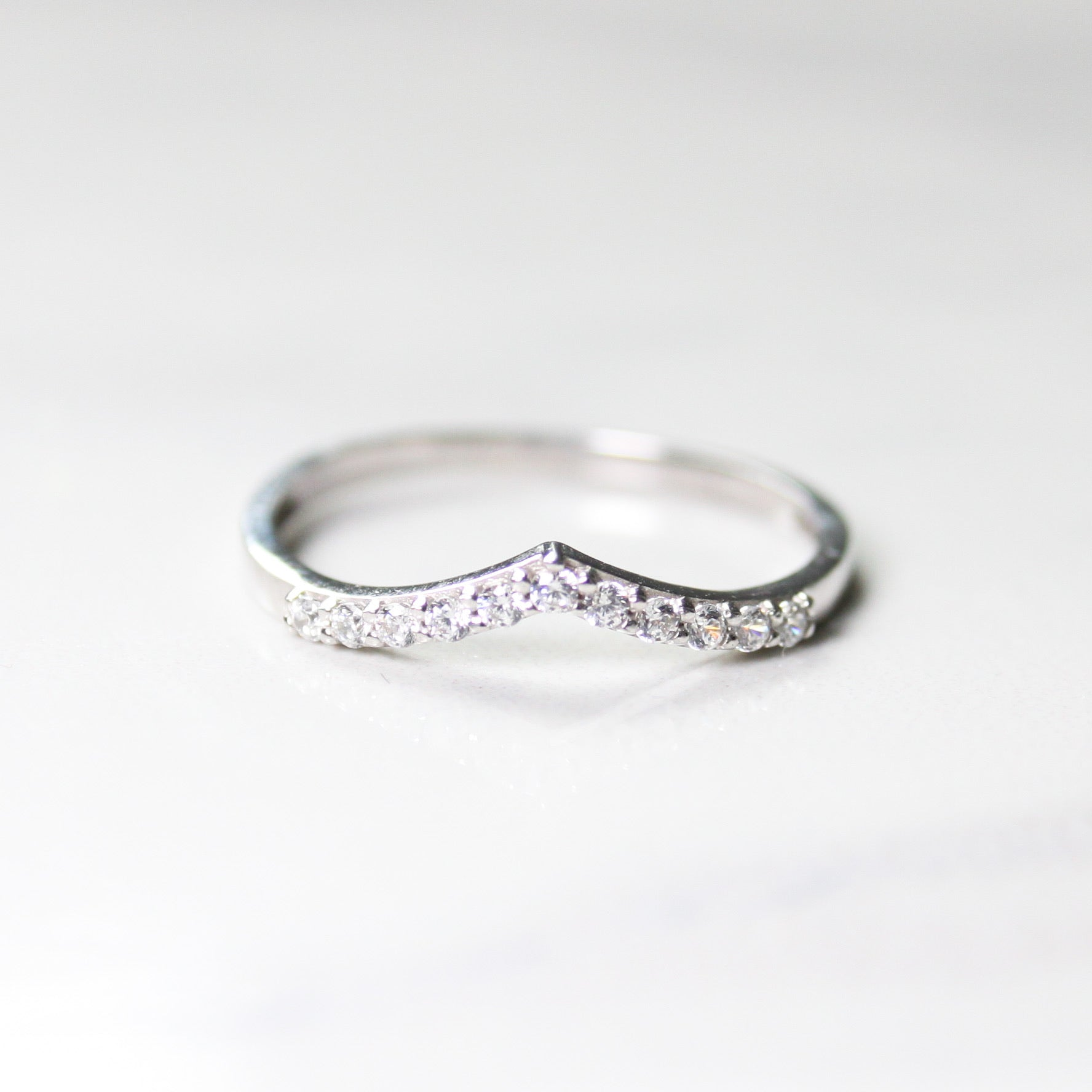 chevron white gold ring with cubic zirconia