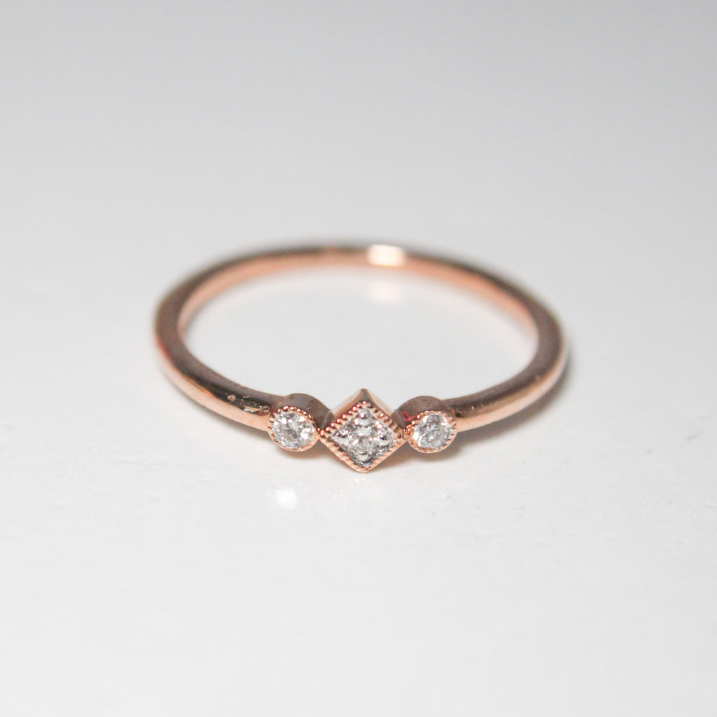 Vintage Style Natural Diamond Band - Rhombus