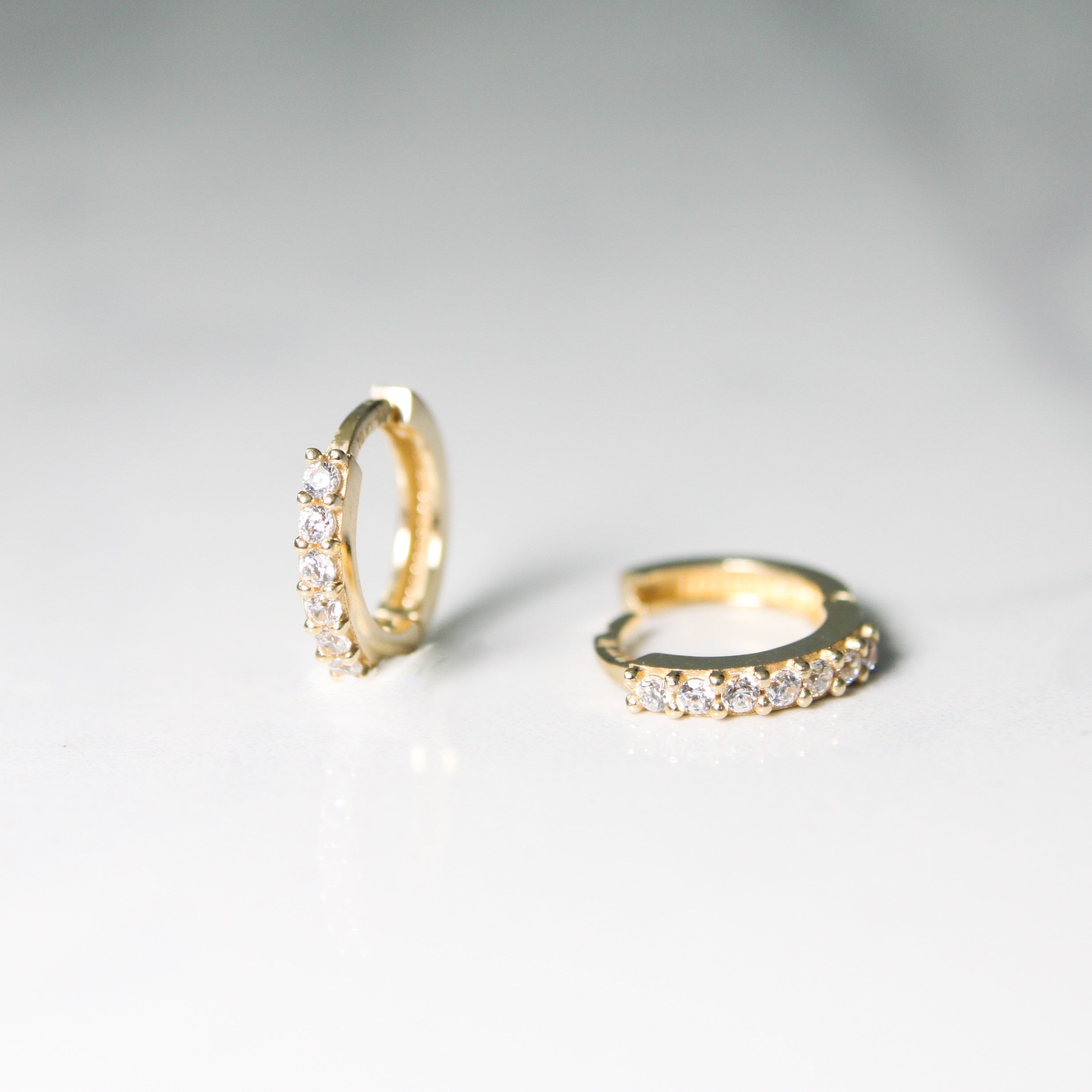 baby hoop earrings with cubic
