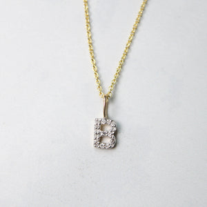Yellow Natural Diamond Initial Necklace
