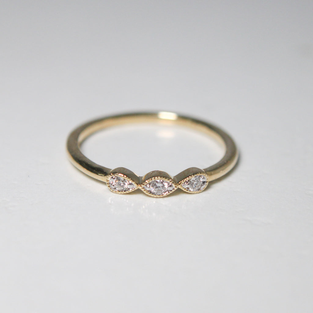 Vintage Style Natural Diamond Band - Marquise