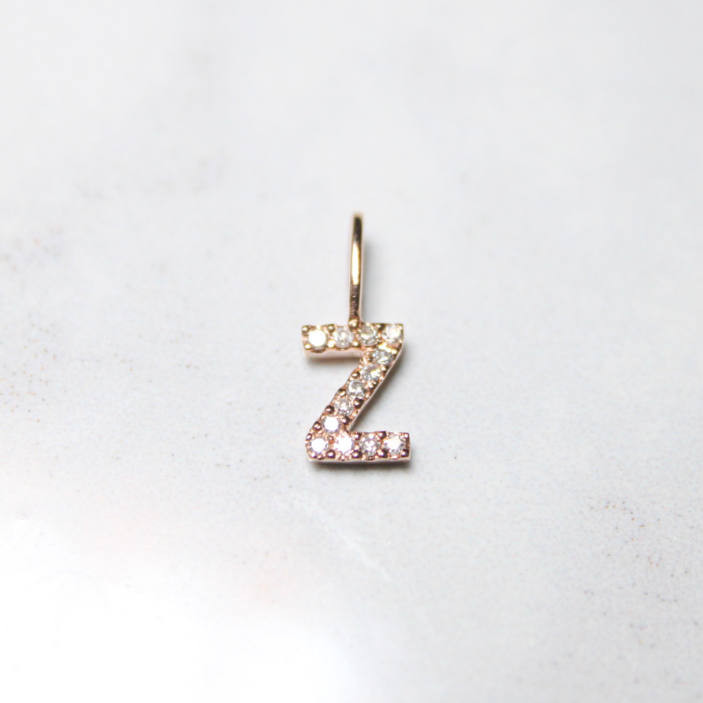 Rose Natural Diamond Initial Pendant