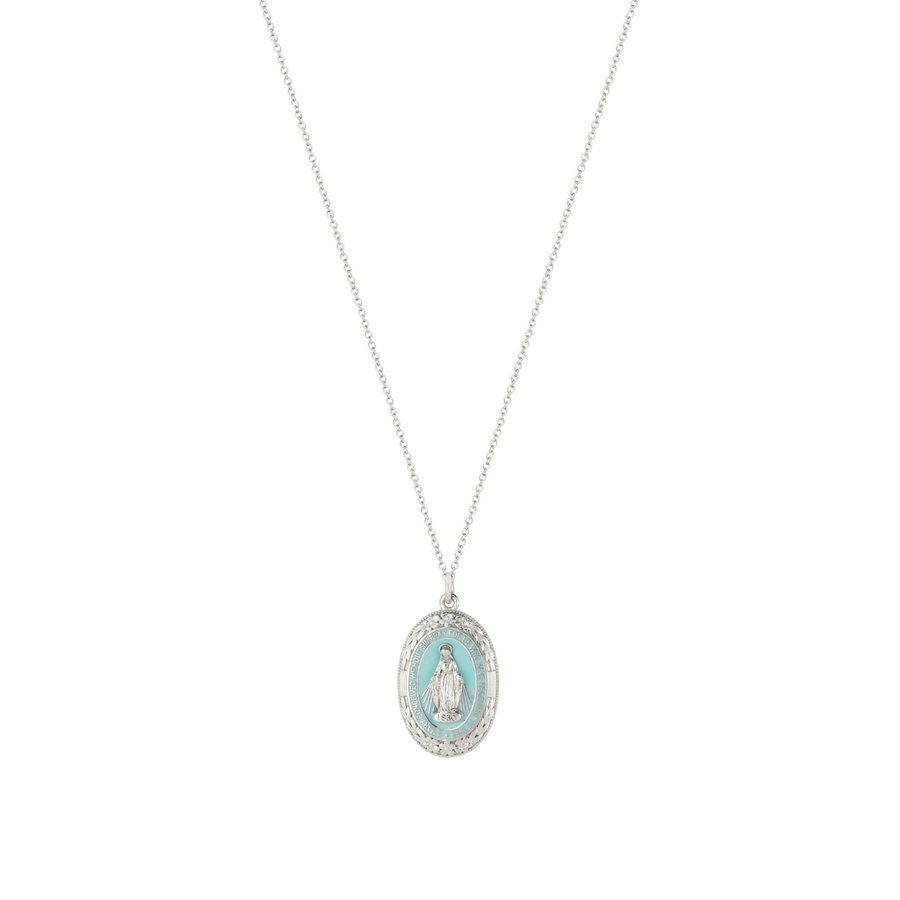 Miraculous Medal in White Gold