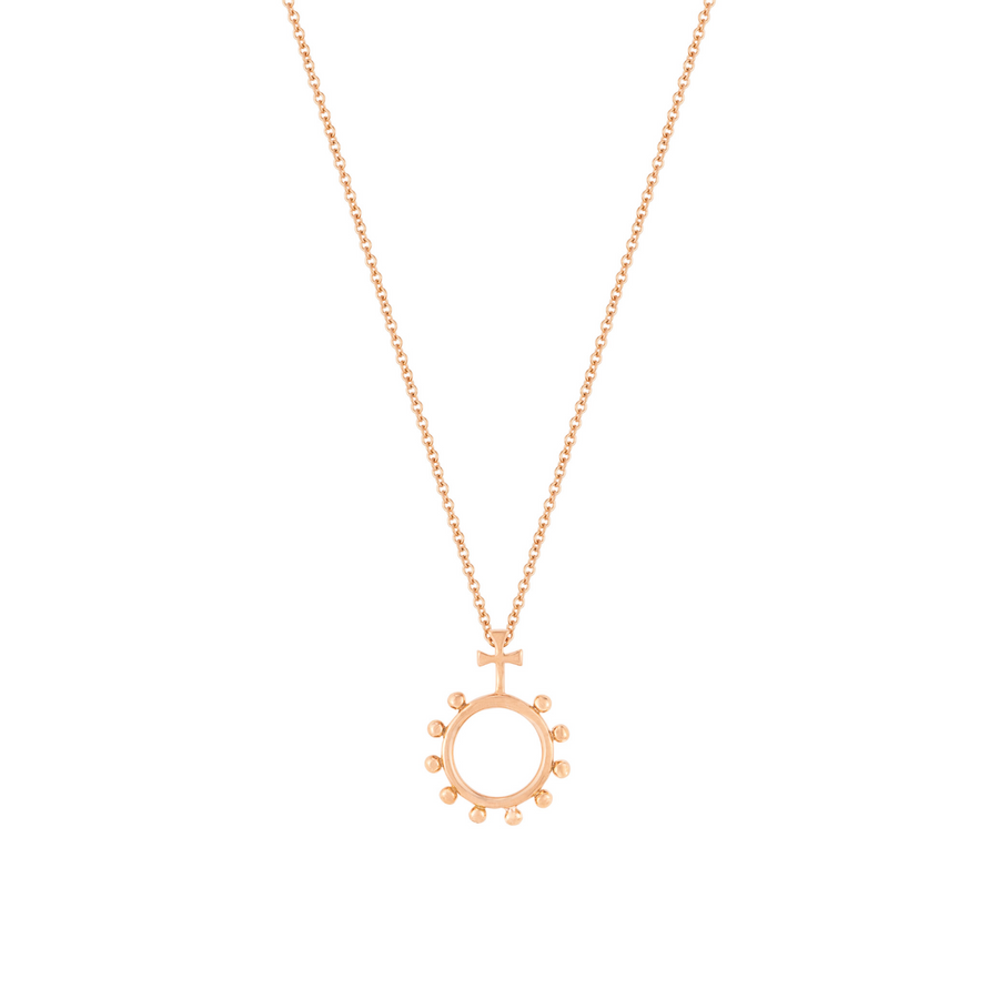 Rosary Ring Necklace in Rose Gold