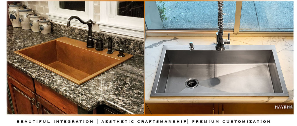 Topmount custom sinks Orlando. Top mounted sink with a rear deck for the faucet.