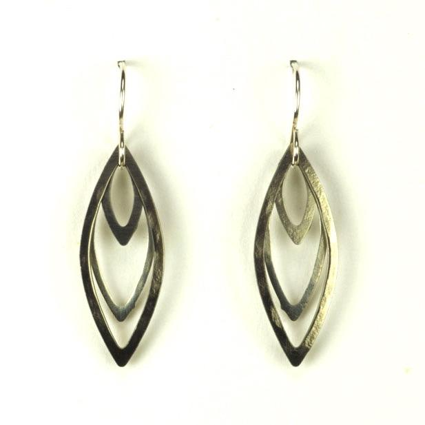 Silver Layered Spear Earrings