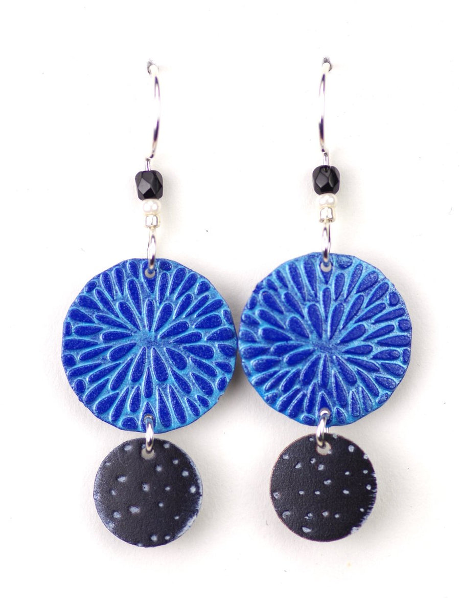 Two Part Blue Circles Earrings
