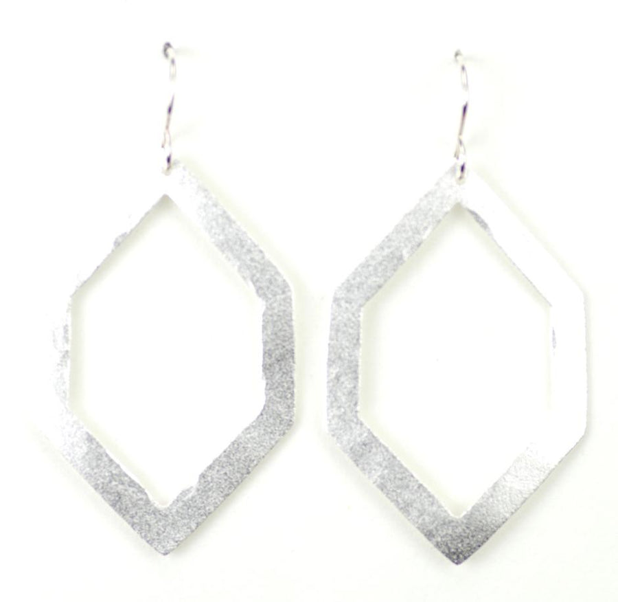Silver Hexagonal Cutout Earrings