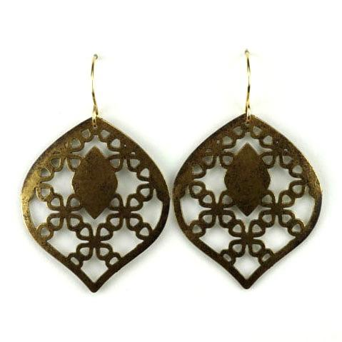 Brass Leaf Patterned Cutout Earrings