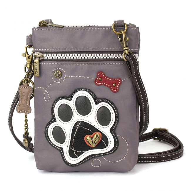 Nylon Cell Crossbody - Gray Paw