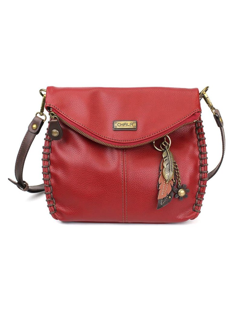 Crossbody Purse - Burgundy Feather
