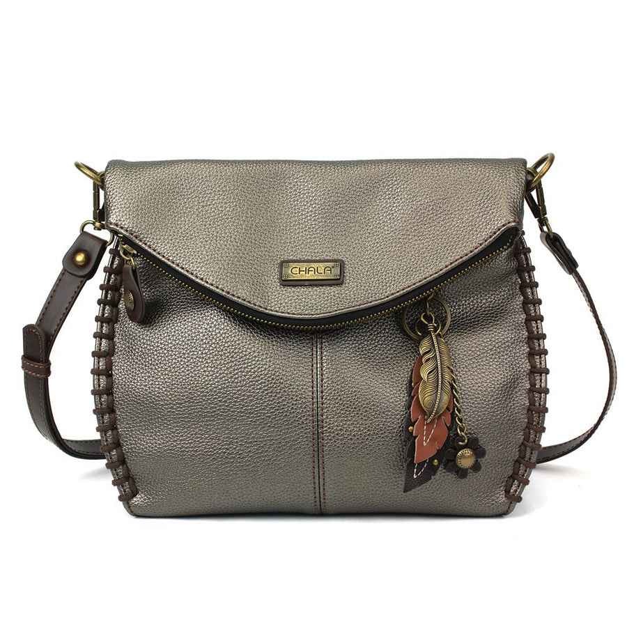 Crossbody - Pewter with Metal Feather Charm