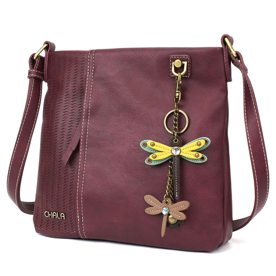 Crossbody - Plum with Yellow Dragonfly Charm