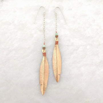 Asymmetrical Brass Feather Earrings