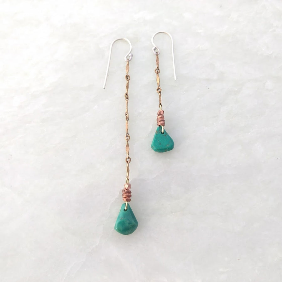 Asymmetrical Turquoise Earrings on Brass Chain with Copper Beading