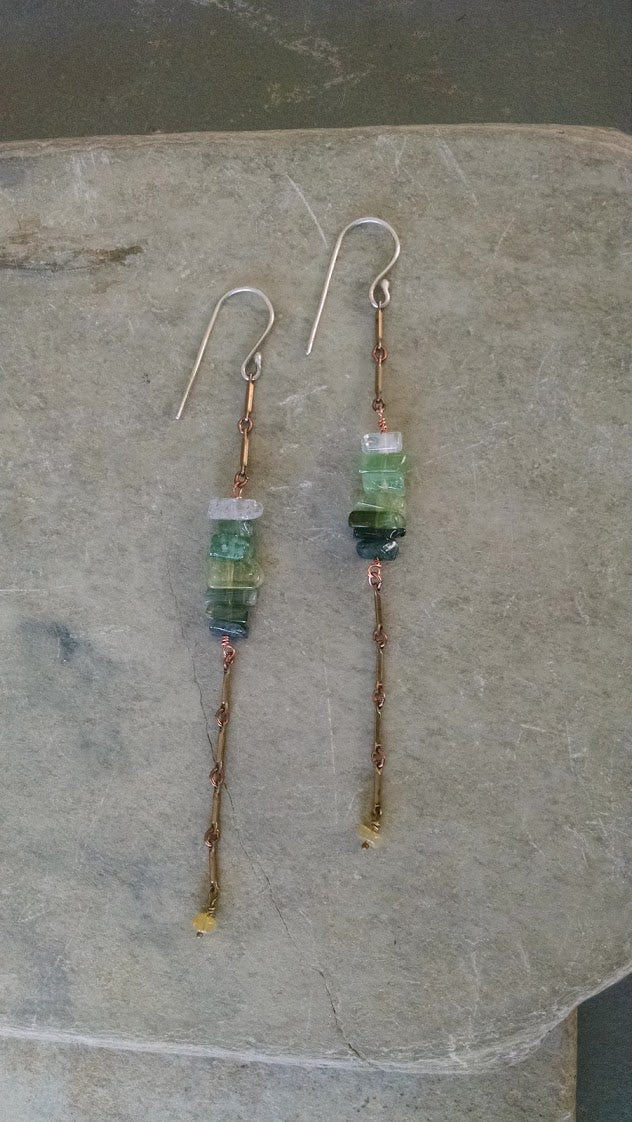 Brass Chain and Tourmaline Earrings