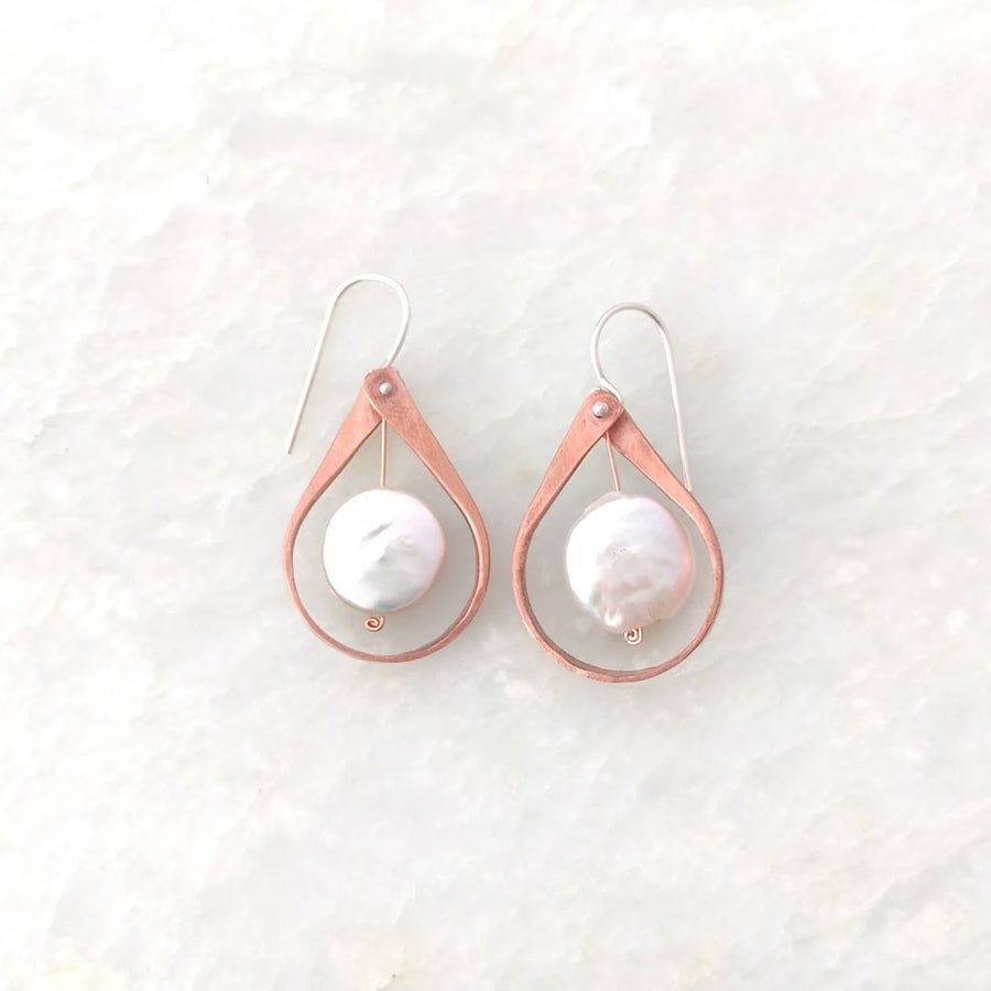 Copper Earrings with Fresh Water Pearls