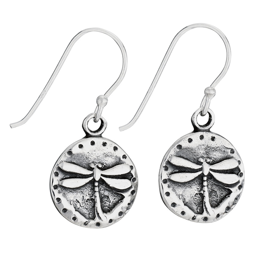 Hanging Dragonfly Disc Earrings