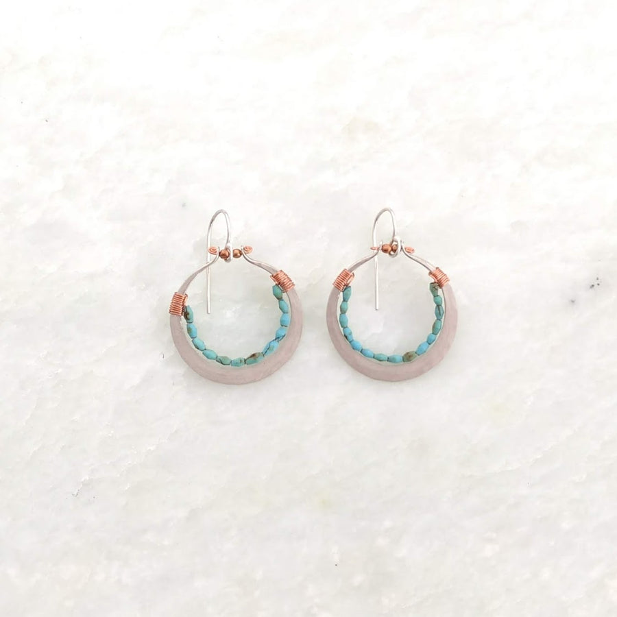 Small Silver Hoops with Turquoise