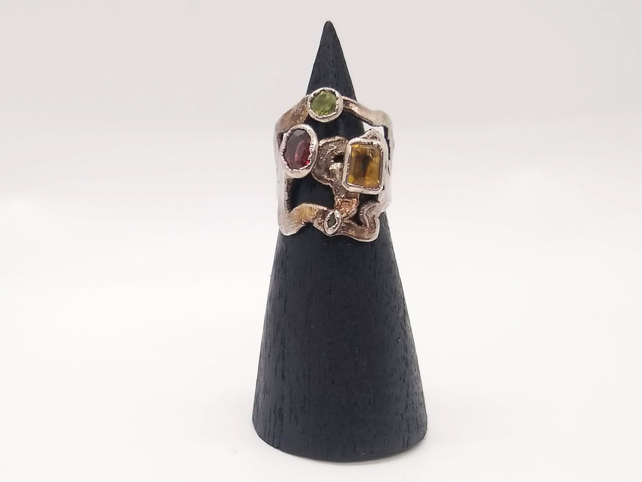 Citrine and Pink Tourmaline Ring - Size 7