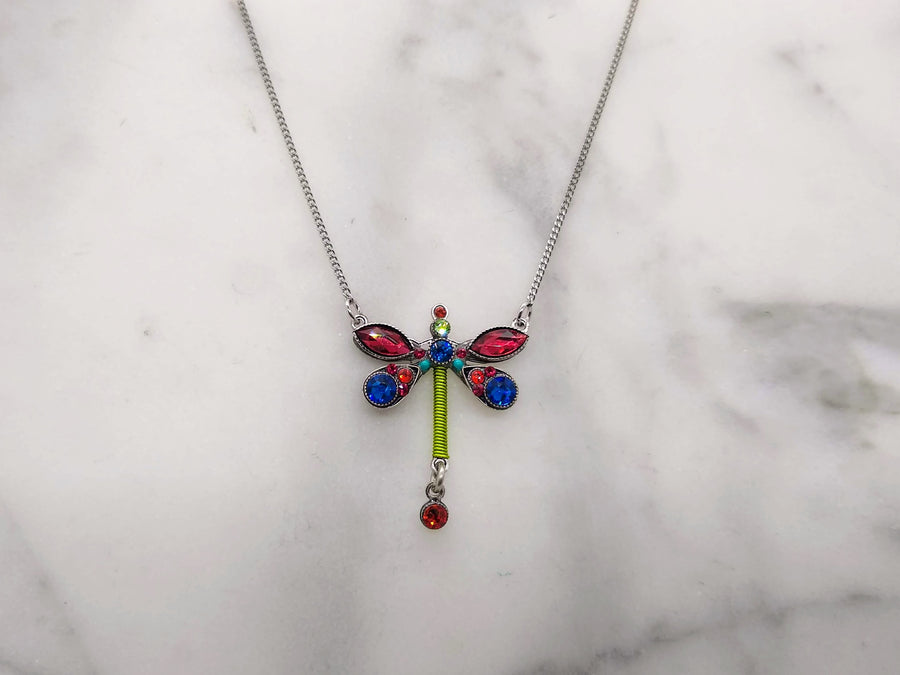 Large Red Dragonfly Necklace