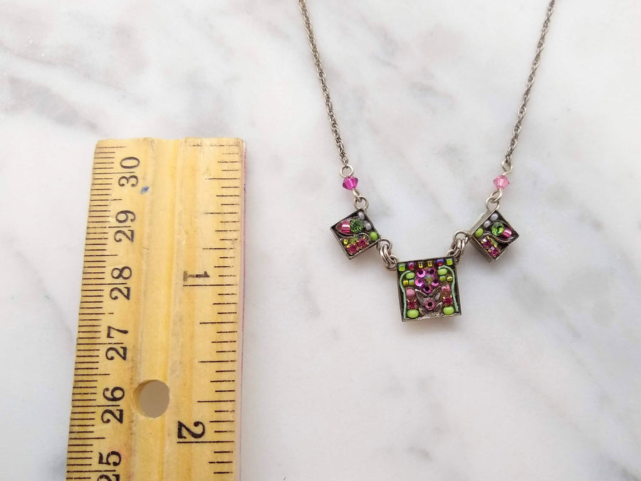 Green and Pink Square Mosaic Necklace