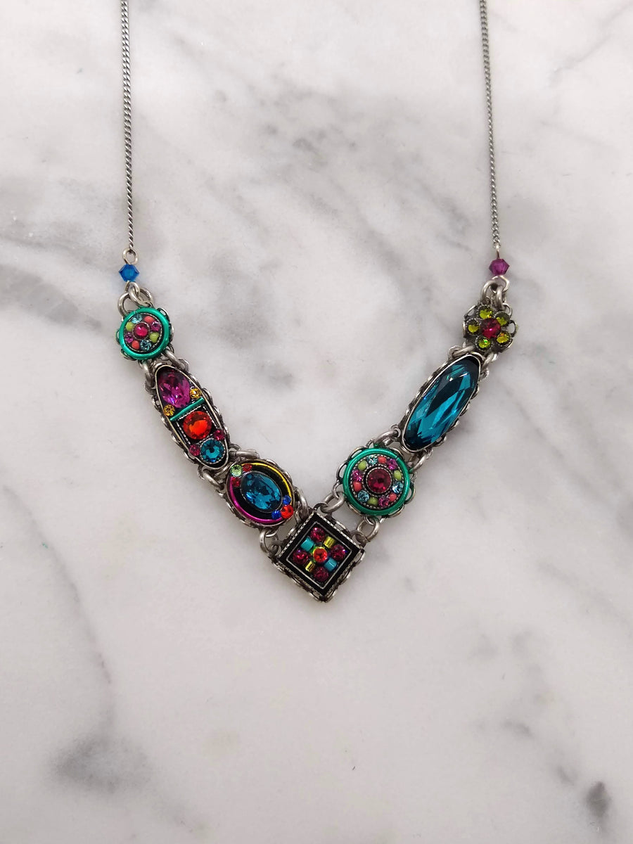 Pink and Blue Geometric Crystals Necklace